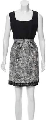 Andrew Gn Sleeveless Brocade-Accented Dress
