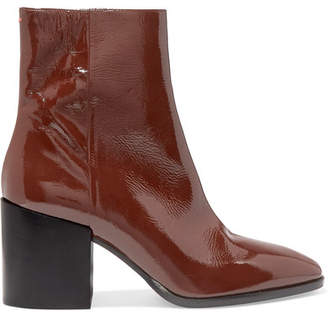 aeydē - Leandra Patent-leather Ankle Boots - Chocolate