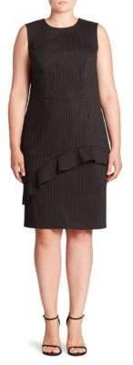 ABS by Allen Schwartz Ruffle Pinstripe Sheath Dress