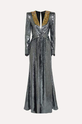 Dundas Embellished Sequined Crepe De Chine Gown - Gunmetal