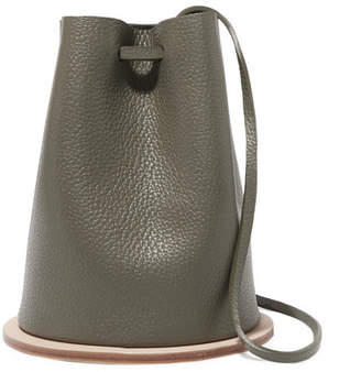 Building Block Disc Textured-leather Bucket Bag