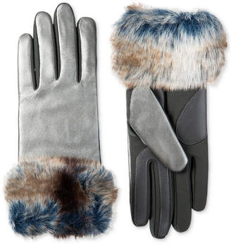 Isotoner Signature Isotoner Women's SleekHeatTM Stretch Leather Touchscreen Gloves with Faux-Fur Cuff