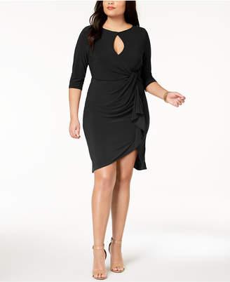 Love Squared Trendy Plus Size Cutout Faux-Wrap Dress