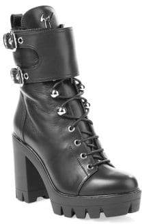 Giuseppe Zanotti Lace-Up Fur& Leather Combat Boots