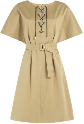 Vanessa Seward Cotton Dress with Lace-Up Front