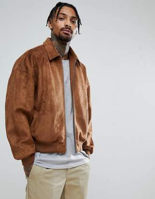 Asos DESIGN oversized faux suede harrington jacket in tan