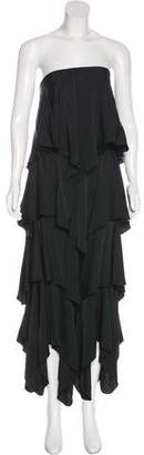 Halston Tiered Silk Dress