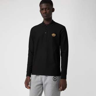Burberry Long-sleeve Archive Logo Cotton Pique Polo Shirt , Size: M, Black