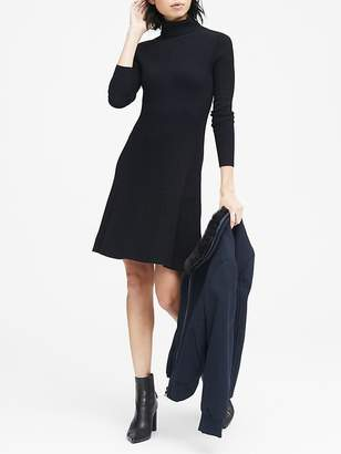 Banana Republic Two-Tone Ribbed Cotton-Blend Turtleneck Sweater Dress