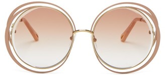 Chloé Carlina Round Frame Sunglasses - Womens - Nude Multi