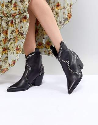 Jeffrey Campbell Leather Black Studded Western Ankle Boots