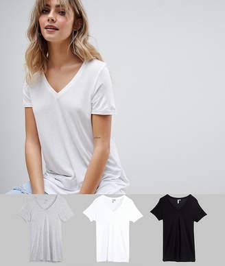 Asos DESIGN v-neck swing t-shirt 3 pack