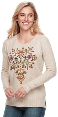 Sonoma Goods For Life Women's SONOMA Goods For Life Floral Embroidery Scoopneck Sweater