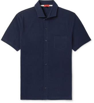 Isaia Cutaway-Collar Cotton-Piqué Shirt