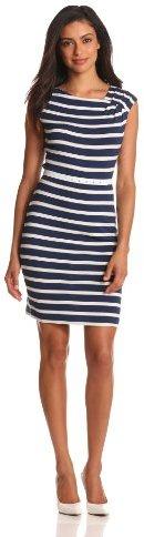 Calvin Klein Women's Short Sleeve Stripe with Belt Dress
