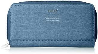 Anello (アネロ) - [アネロ] 長財布 高密度杢調ポリ ラウンドZ長財布 AU-H1153 BL ブルー