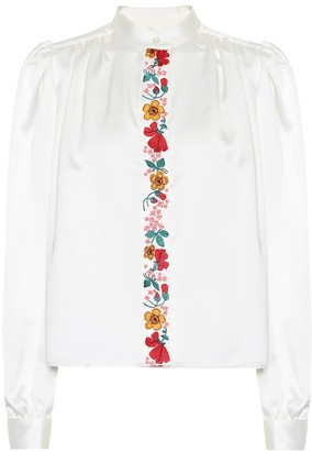 ALEXACHUNG Embroidered crepe blouse