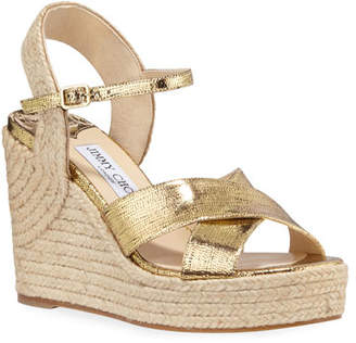 Jimmy Choo Dellena Metallic Wedge Espadrilles