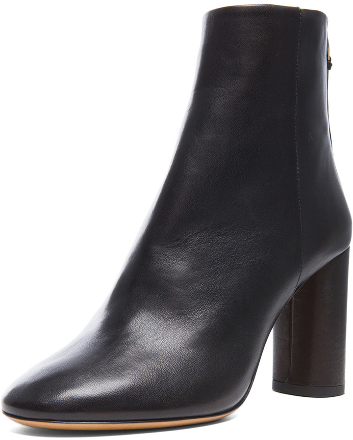 Isabel Marant Agora Lambskin Leather Booties in Black