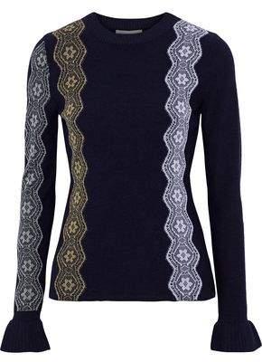 3.1 Phillip Lim Metallic Lace-appliqued Wool-blend Sweater