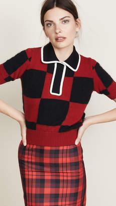 No.21 No. 21 Collared Check Sweater
