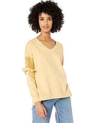 Democracy Women's Long Sleeve Vneck Sweatshirt with lace Inset