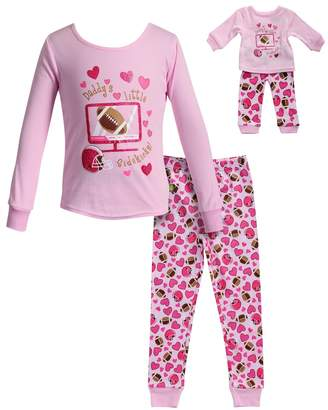 "Dollie & Me Girls 4-14 Daddy's Little Sidekick"" Hearts & Football Top & Bottoms Pajama Set"