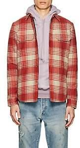 John Elliott Men's Plaid Wool Flannel Padded Shirt - Red