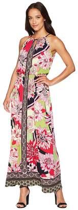 London Times 60s Floral Border Blouson Halt Dress Women's Dress