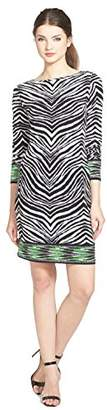 MICHAEL Michael Kors Women's Petite Long Sleeve Zebra Boatneck Border Dress