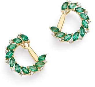 Bloomingdale's Emerald Marquis & Diamond Front-to-Back Earrings in 18K Yellow Gold - 100% Exclusive