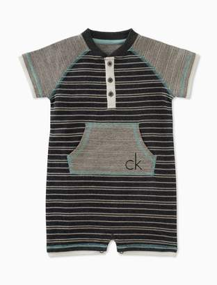 Calvin Klein boys striped short sleeve onesie
