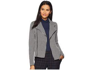Lauren Ralph Lauren Houndstooth Wool Blend Moto Jacket