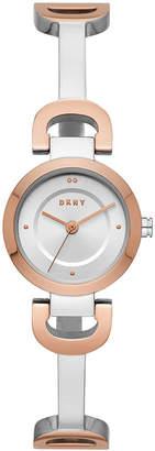 DKNY Women's City Link Two-Tone Stainless Steel Half-Bangle Bracelet Watch 24mm