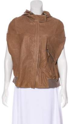 Brunello Cucinelli Hooded Leather Cape