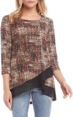 Karen Kane Layered Sheer Hem Top