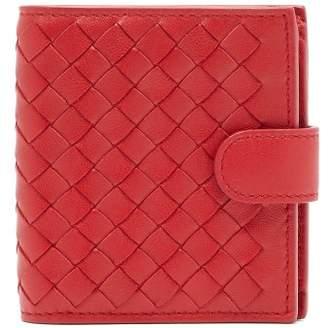 Bottega Veneta Intrecciato Bi Fold Leather Wallet - Womens - Red