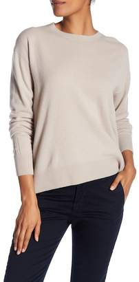 Vince Cashmere Boxy Long Sleeve Stitch Detail Solid Pullover Sweater