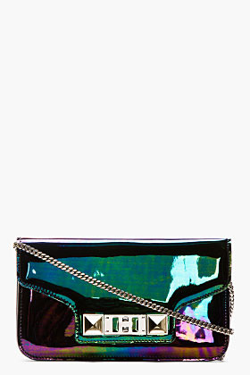 Proenza Schouler Black Iridescent Oil Slick Leather PS11 Chain Clutch