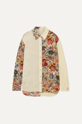 Burberry Printed Silk-chiffon Shirt - Ivory