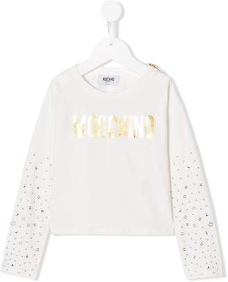 Moschino Kids logo studded sweater