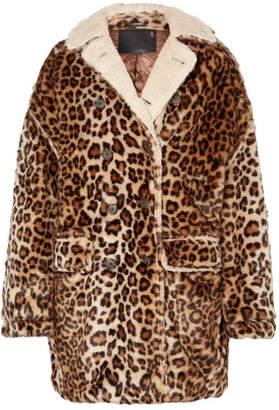 R 13 Oversized Shearling-lined Leopard-print Faux Fur Coat - Leopard print