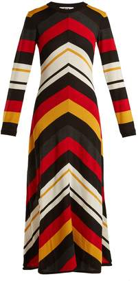 MSGM Chevron-striped wool-blend dress