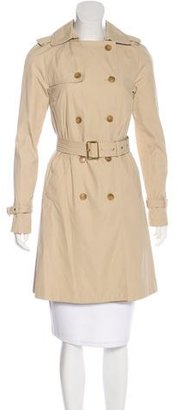 Pink Tartan Double-Breasted Knee-Length Trench Coat $95 thestylecure.com