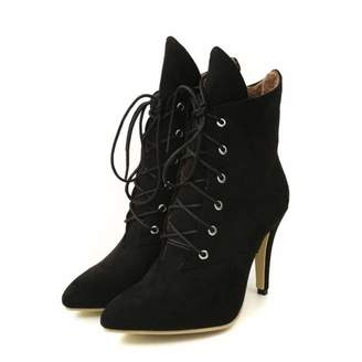 e6f45c0ab23 SENERY Women Winter Ankle Boots Fashion Sexy Lace Up Warm Fur Leopard  Pointed Toe Party High