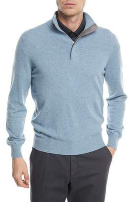 Ermenegildo Zegna Cashmere Quarter-Zip Sweater with Leather Trim