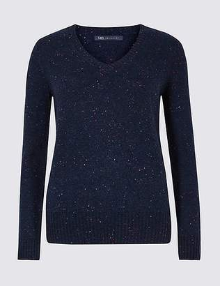 Marks and Spencer Lambswool Rich Textured V-Neck Jumper