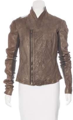 Rick Owens Leather Long Sleeve Jacket