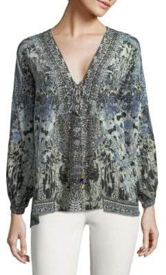 Camilla Printed Silk Lace-Up Blouse