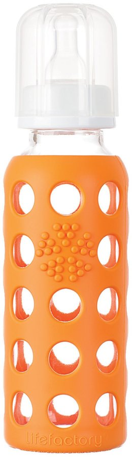 Green Baby Lifefactory Glass Bottle w/ Sleeve - Orange - 9 oz
